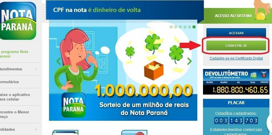 Como se Cadastrar no Nota Paraná