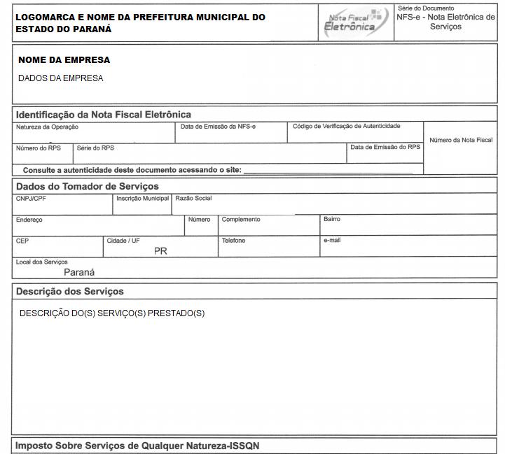 Modelo De Nota Fiscal Paraná Para MEI